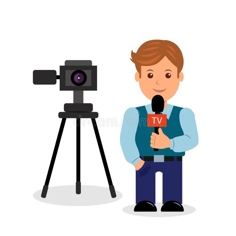 Journalistmännliche rolle auf einem weißen Hintergrund mit einer Kamera und ein Mikrofon in ihrer Hand stock abbildung