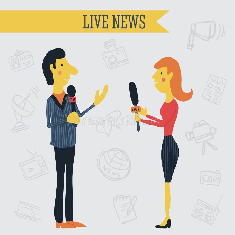 Journalistnachrichten-Reporterinterview, das Mikrophone auf Hintergrund von Hand gezeichneten Massenmediumikonen hält lizenzfreie abbildung