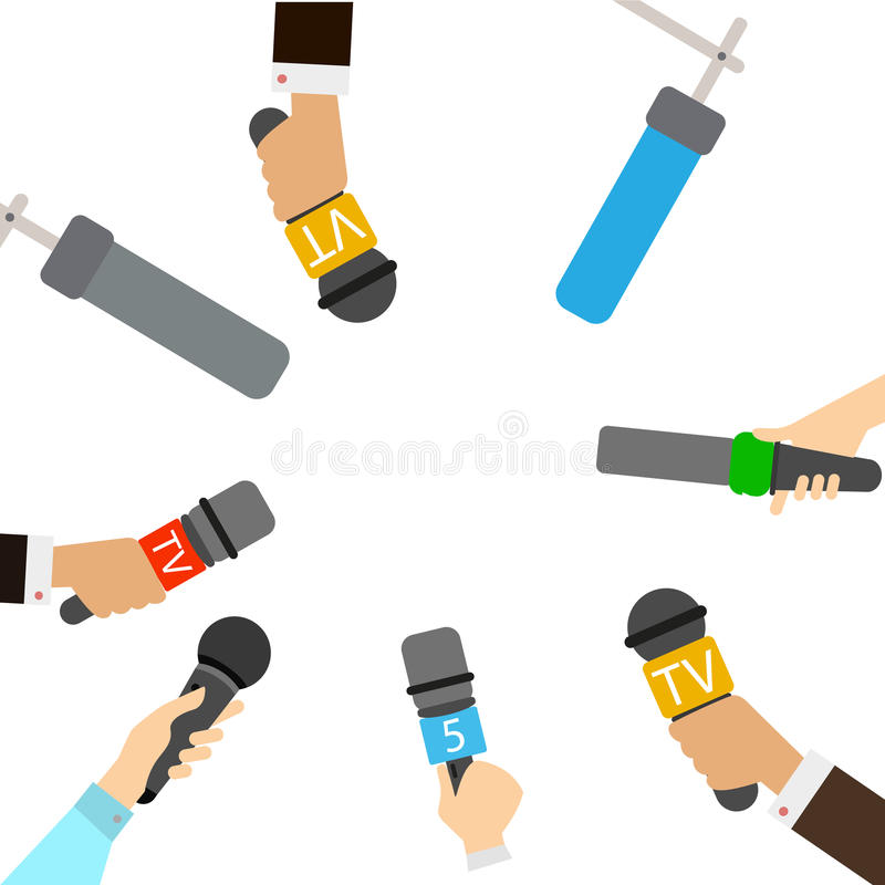 Journalists with microphones. vector illustration