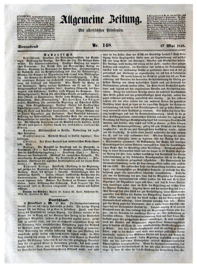 Journaux généraux d'Augsbourg photos libres de droits
