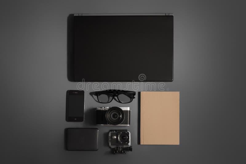 Journey accessories. Equipment for the modern traveler stock image