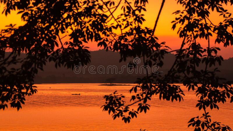Journey by boat in Kaptai lake in a tranquil morning in Bangladesh stock photography