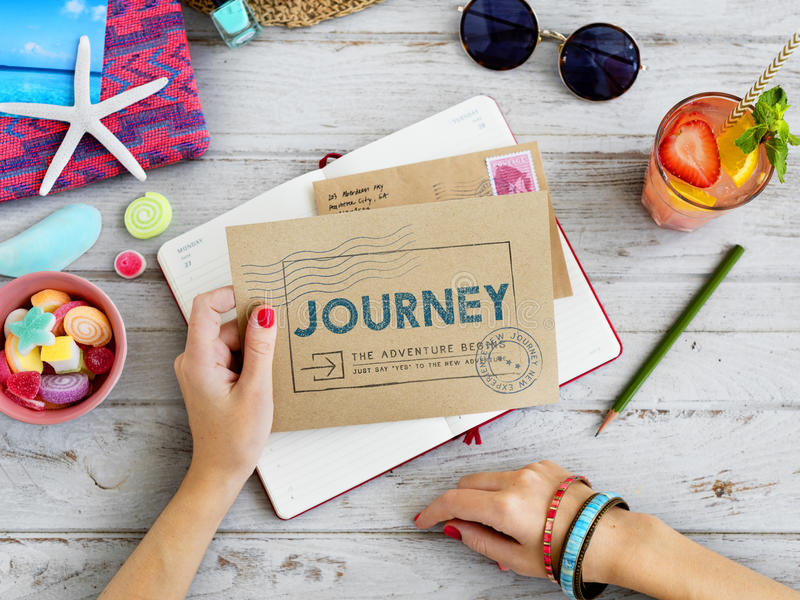 Journey Brand Tag Word Graphic Concept. Journey Brand Tag Word Graphic Mailing royalty free stock photo