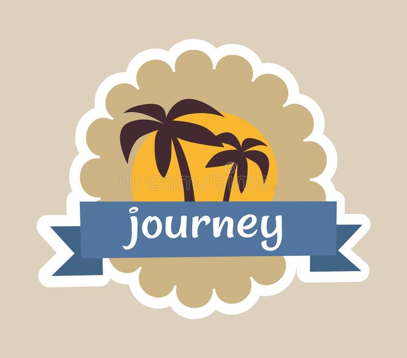 Journey Cute Colorful Poster Vector Illustration royalty free illustration