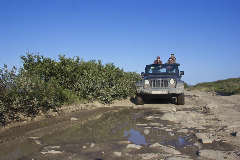 The journey, jeep Wrangler, Murmansk region, Russia stock photography