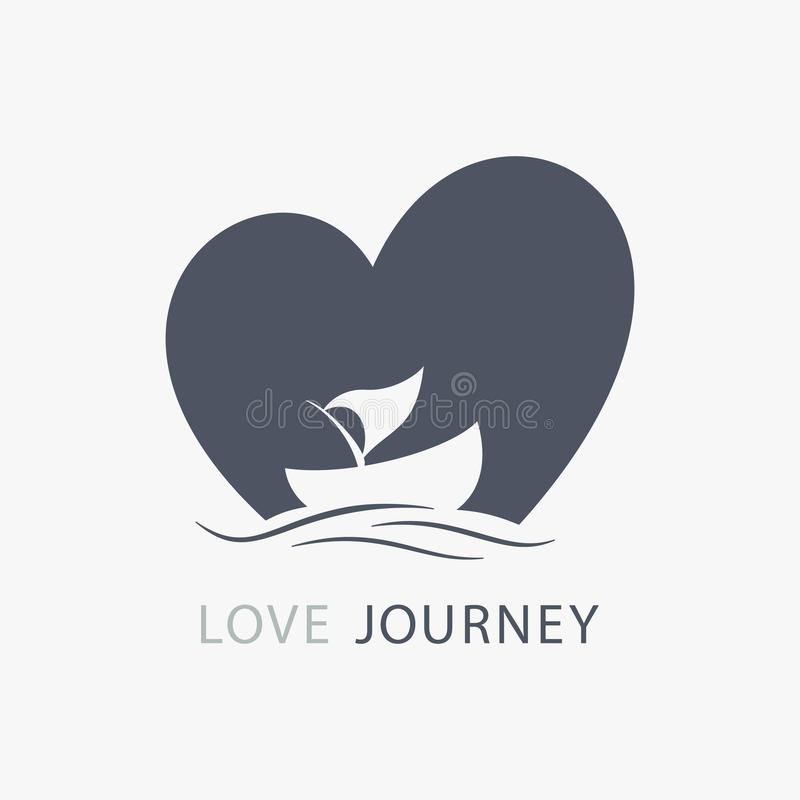 Journey of love boat logo with heart shape background. Logo journey of love in a boat with heart shape background vector illustration