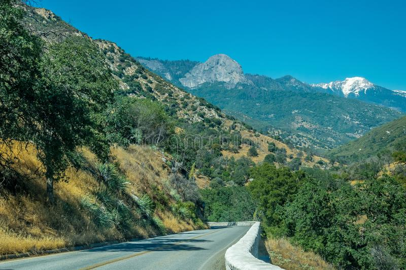 Road over the precipice. Travel to Sequoia National Park, California, USA stock images