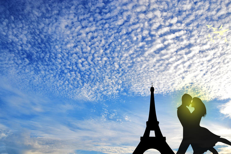 Journey on Paris. Yound people in love.Big lovers.vacation in Paris vector illustration