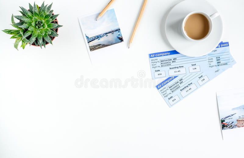 Journey planning with tourist outfit on white table background top view mock-up stock image