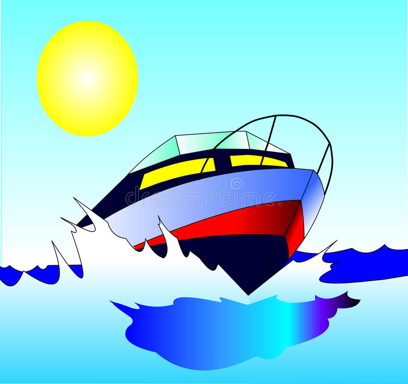 Download Journey On Quick, Comfortable Motorboat Stock Illustration - Illustration: 13438924