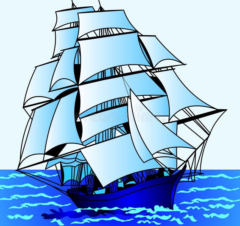Download Journey on  sailing nave stock illustration. Illustration of sail - 13438860