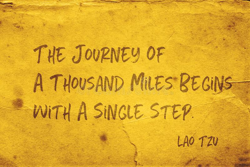 Single step Lao Tzu. The journey of a thousand miles begins with a single step - ancient Chinese philosopher Lao Tzu quote printed on grunge yellow paper stock illustration