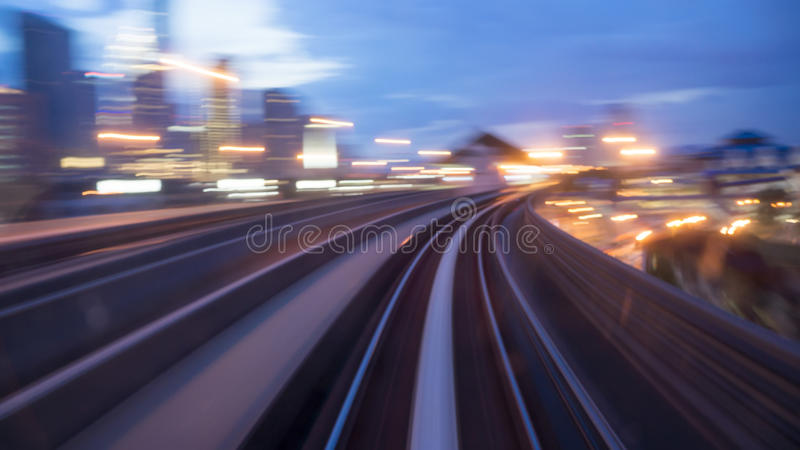 Journey to the city. Abstract of light view from inside vehicle royalty free stock photo