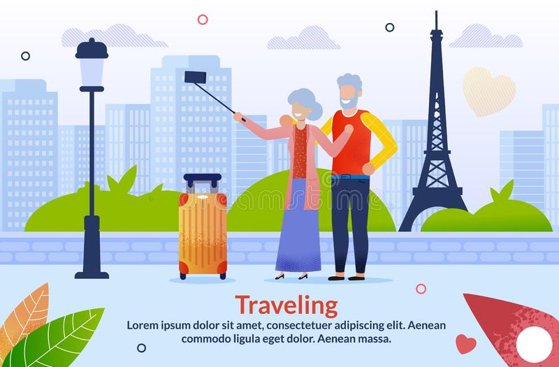 Journey to Europe for Aged Senior Couples Poster. Journey to Europe for Aged Senior Couples Flat Poster. Cartoon Mature Married Man and Woman Characters with vector illustration