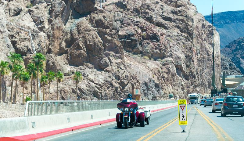 Journey to Hoover Dam. Highway in the desert of Nevada royalty free stock images