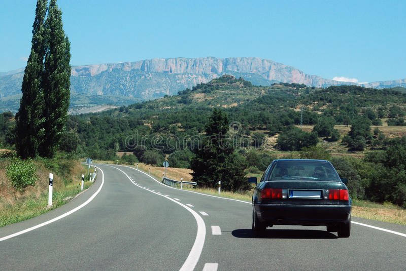 Journey to the mountains by car stock image