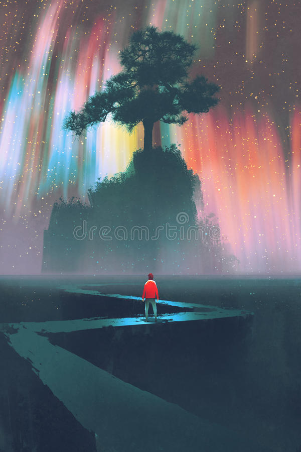 Journey on winding road,digital painting. Man begin a journey on winding road to the big tree against the night sky,illustration stock illustration