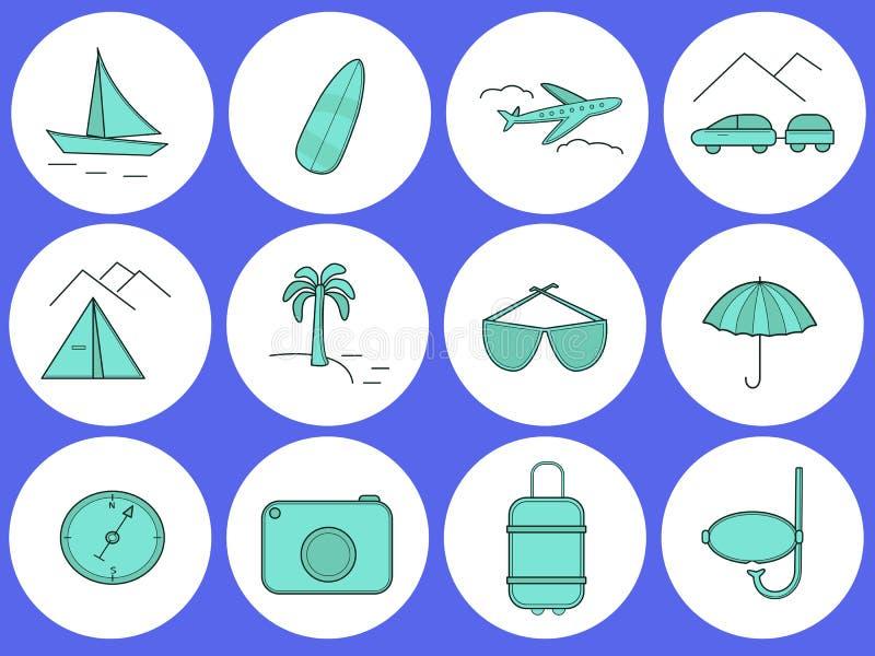 journeyer Set round ikony na temacie podróż ilustracji