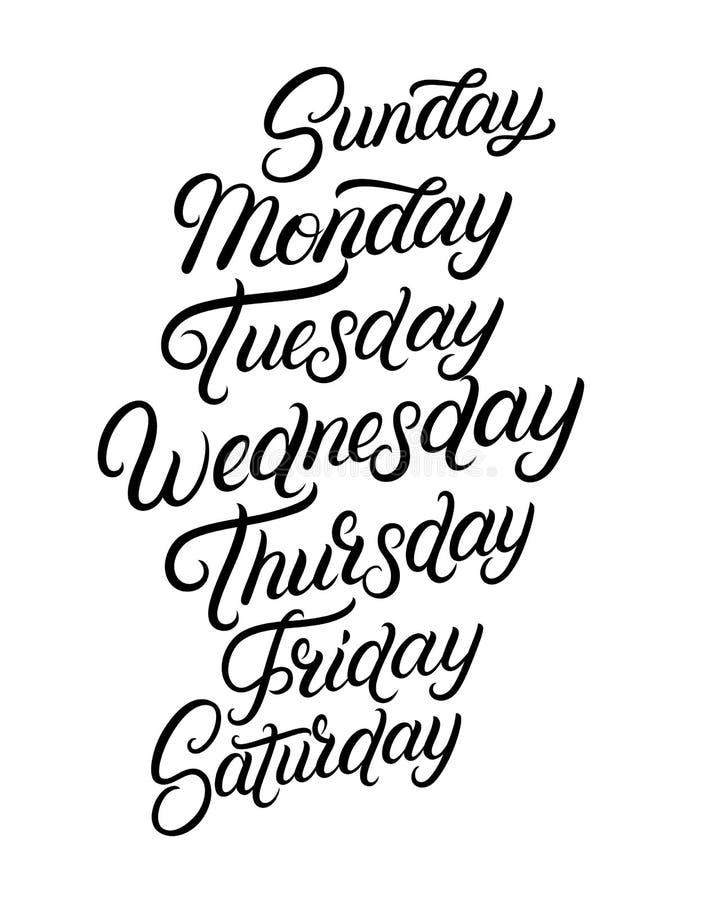 Jours d'une main de semaine écrite le lettrage illustration stock