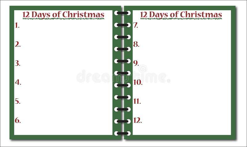 12 jours de bloc-notes de Noël illustration stock