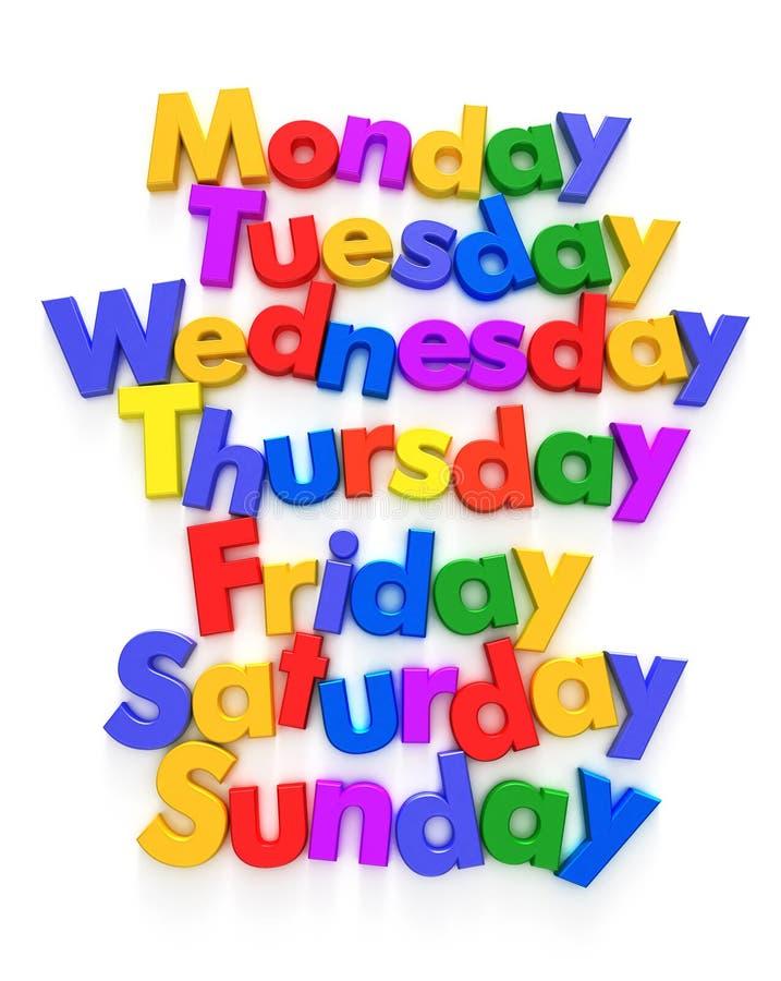 Jours de la semaine dans des aimants de lettre illustration stock