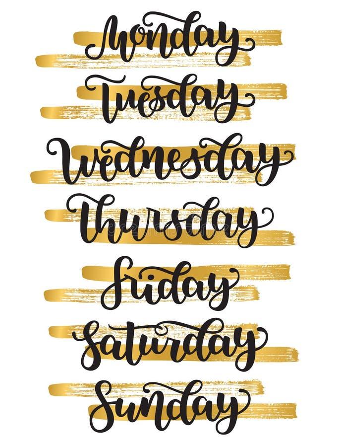 Jours de lettrage de semaine dimanche, lundi, mardi, mercredi, jeudi, vendredi, samedi Calligraphie moderne d'isolement dessus illustration stock