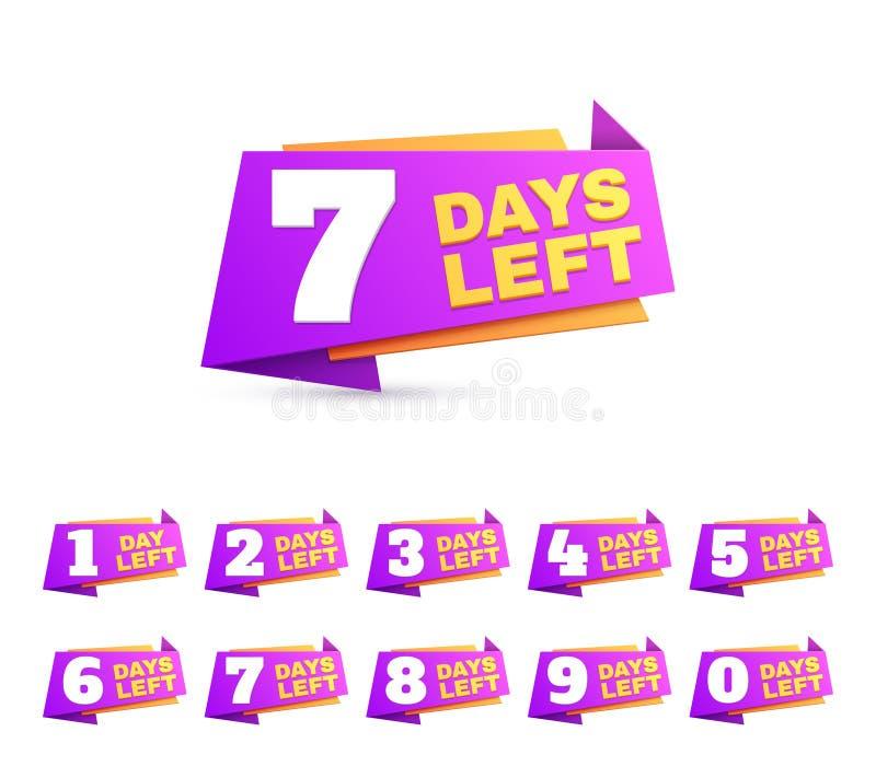 Jours laissés Jour de compte à rebours à aller nombres Ensemble de vecteur de signe d'affaires de vente d'offre illustration de vecteur