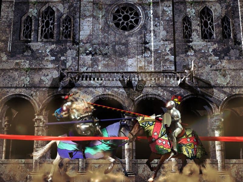 jousting рыцари иллюстрация штока