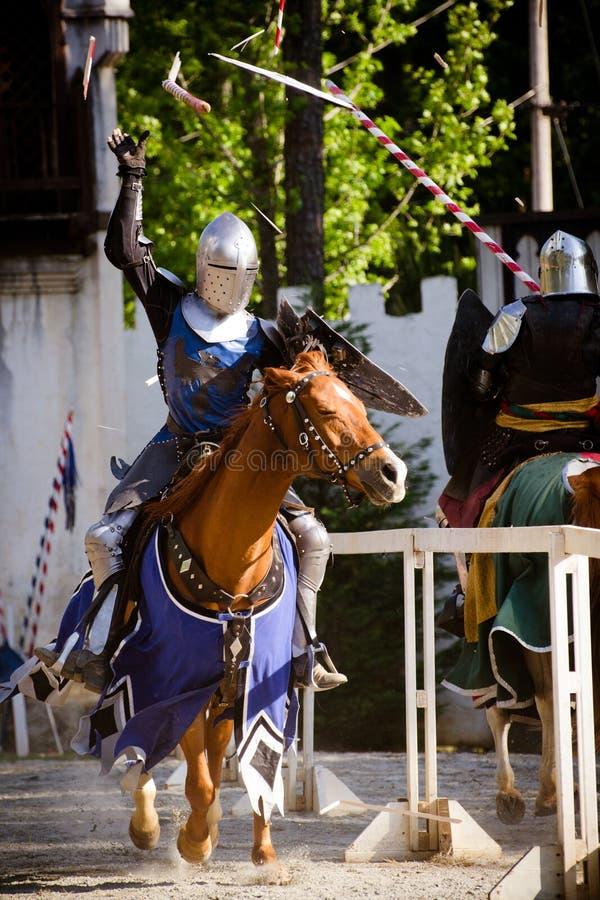 Jousting bij het Festival van de Renaissance stock afbeelding