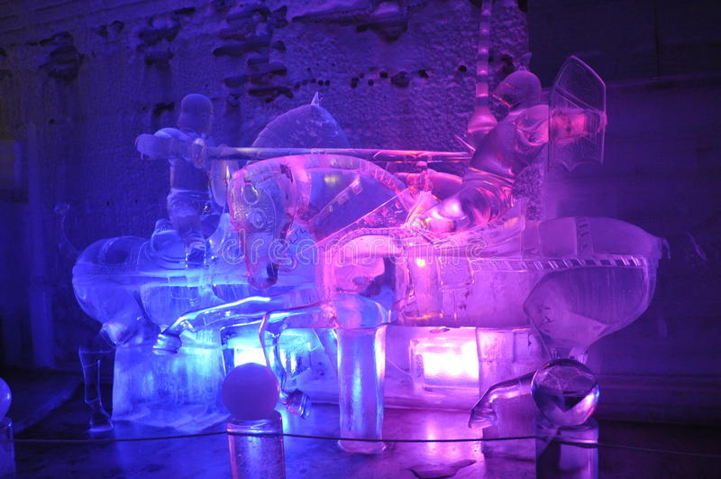 Jousting Knights Ice Sculpture. This amazing ice sculpture created in the Chena Ice Museum in Fairbanks, Alaska. This sculpture portrays two medieval knights royalty free stock images