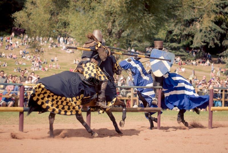 jousting riddare royaltyfri bild