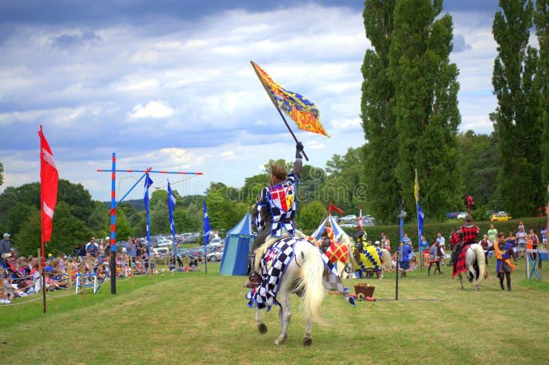 Jousting turnering Förenade kungariket för Hever slott royaltyfri bild