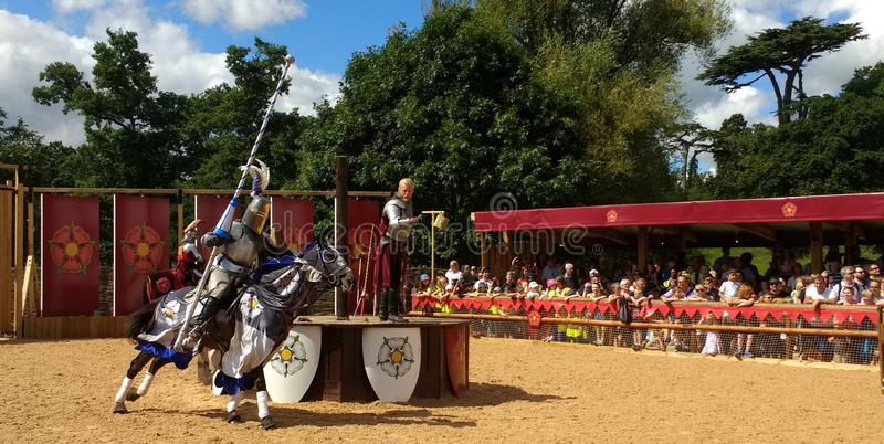 Jousting at Warwick Castle, England stock photos