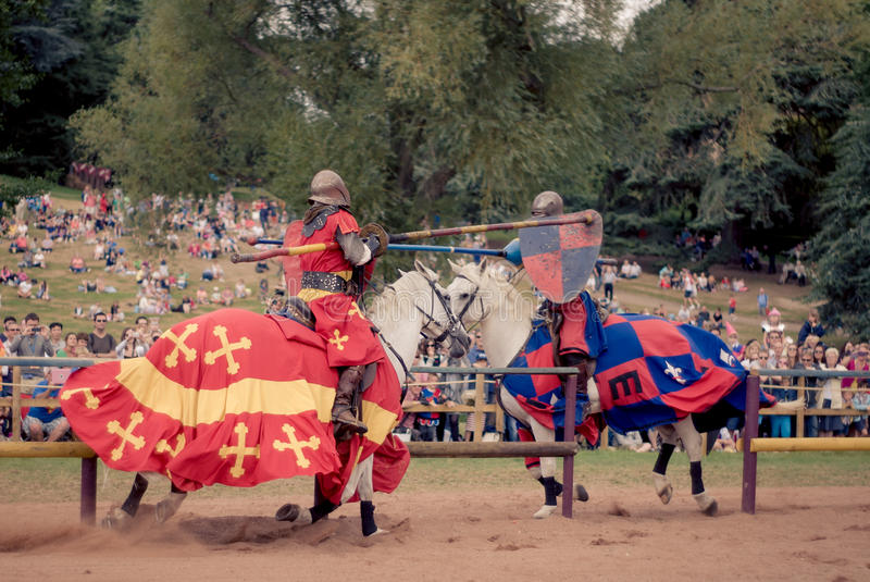 Jousting at Warwick Castle stock photography