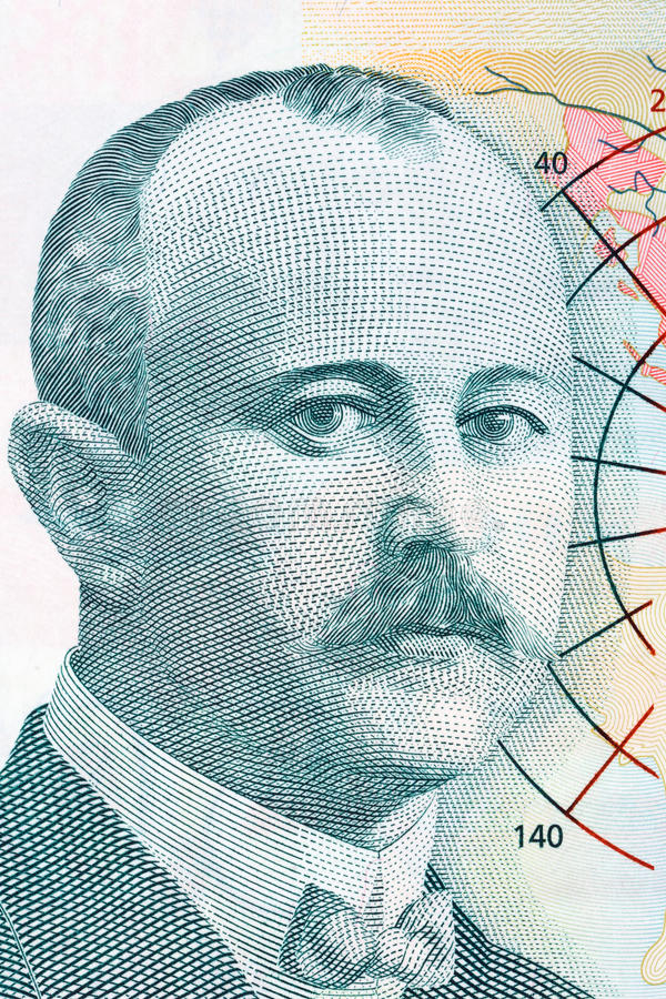Jovan Cvijic stående från pengar för Serbien ` s royaltyfri bild