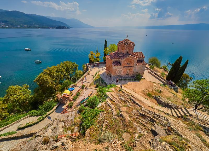 Jovan Kaneo Church, lac Ohrid, Macédoine photographie stock