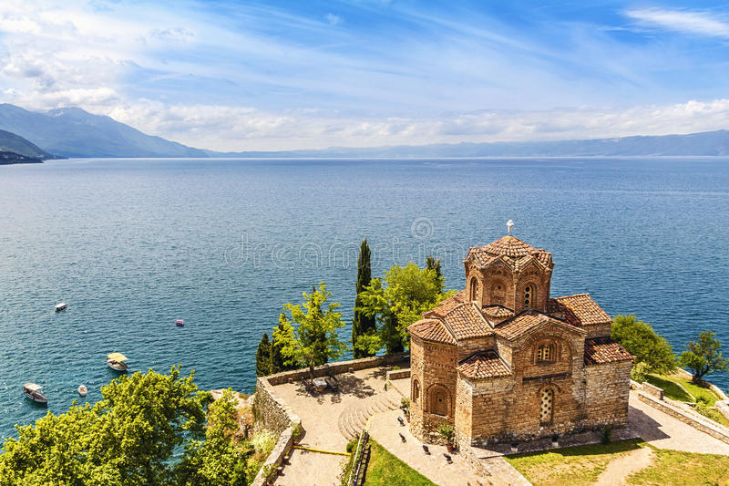Jovan Kaneo Church, Meer Ohrid, Macedonië stock foto
