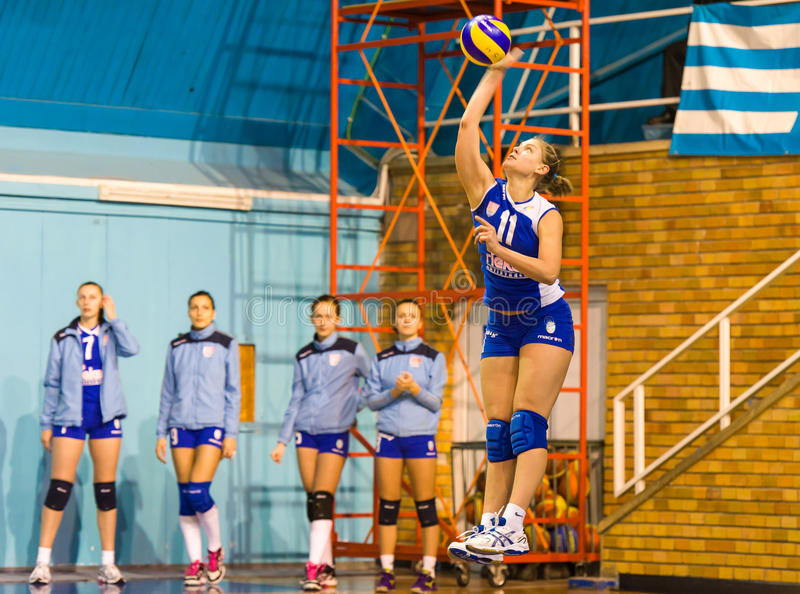 Jovanovic Katarina, a volleyball young player serving in CSM Bucharest - CSM Lugoj match