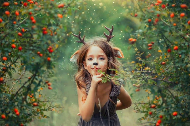 A jovem corça pequena em um cão da bérberis aumentou bosque, esconde-esconde das brincadeiras do fauno e guarda um dedo aos bordo imagem de stock
