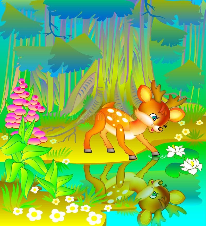 Jovem corça pequena que olha sua reflexão na água ilustração stock