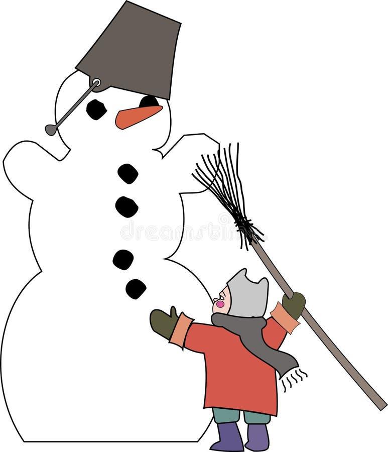 Jovem criança da imagem da cor que faz um boneco de neve ilustração royalty free