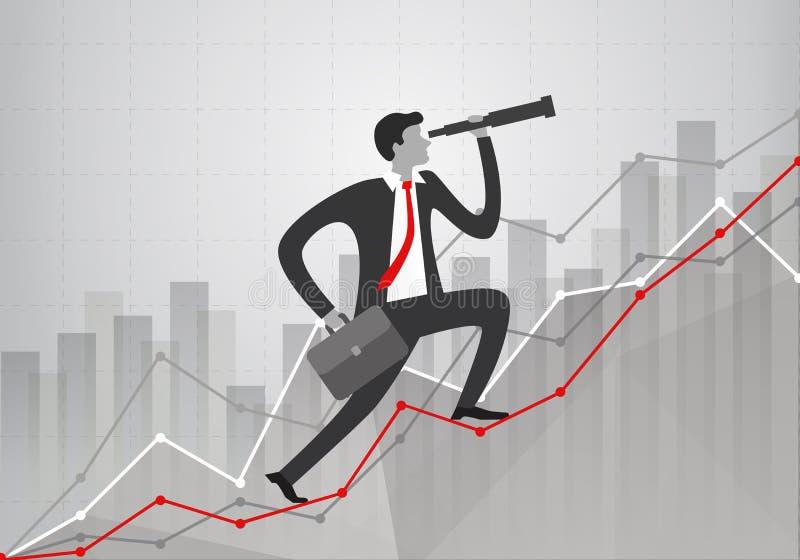 jovem empresário com telescópio na mão olha para o futuro e sobe gráficos de estatísticas de negócios de crescimento mostrando di ilustração do vetor