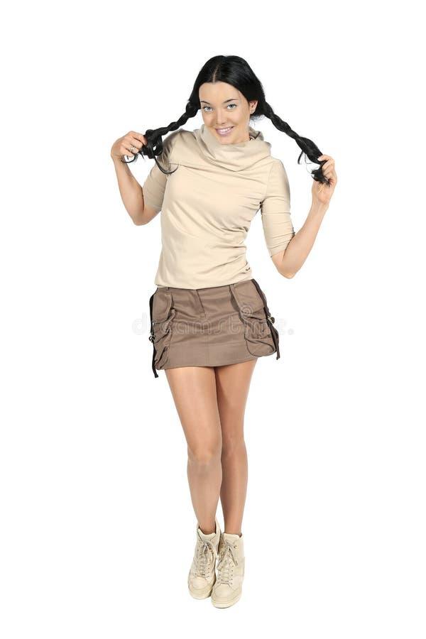 Jovem mulher alegre com tranças imagens de stock