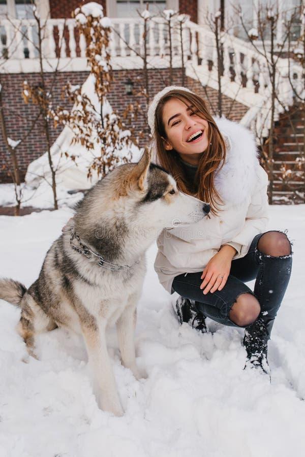 Jovem mulher alegre elegante que tem o divertimento com o cão ronco bonito na neve na rua Emoções verdadeiras, momentos felizes d foto de stock royalty free