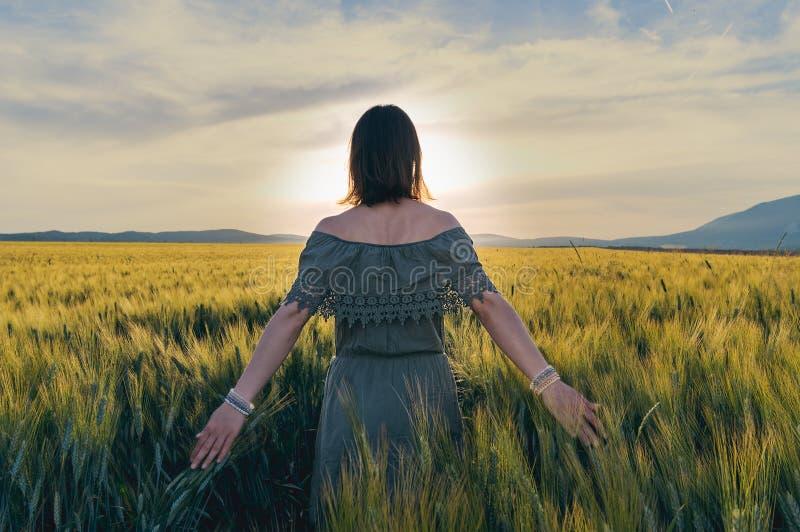 A jovem mulher anda no campo de trigo imagens de stock