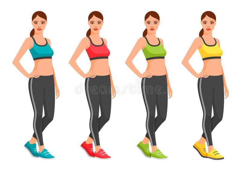 Jovem mulher apta no sportswear ilustração stock