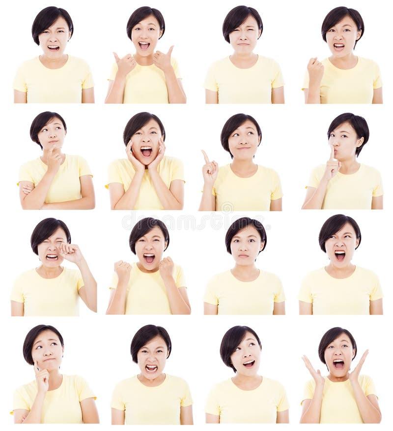 Jovem mulher asiática que faz expressões faciais diferentes imagens de stock royalty free