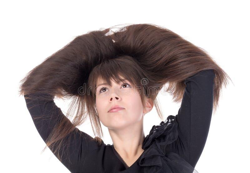 Jovem mulher atrativa com cabelo longo bonito fotos de stock