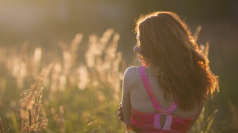 Jovem mulher atrativa no prado no por do sol - vista traseira imagem de stock royalty free