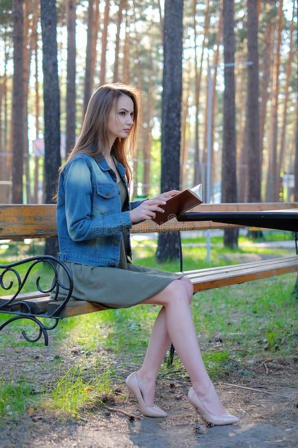 A jovem mulher atrativa vestida ocasionalmente lê o livro velho que senta-se em um banco de madeira no parque imagens de stock royalty free
